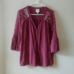 Knox Rose Boho Lace Bell sleeve top(S)